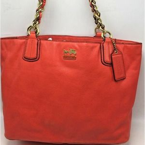 Coach 20466 Madison Chain Tote Coral  Leather Bag
